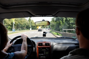 Driving in Europe is similar to the U.S., but harder since everything's in a foreign language