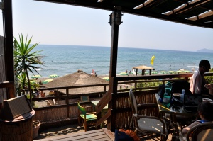 A tourist view from the beach-side restaurant, where there are no tourists (just us)