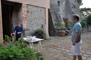 Bill and Olivier combatting large yellowjacket with barbecue tongs