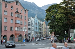 Our hotel in Innsbruck, with Tyrolean Alps in background