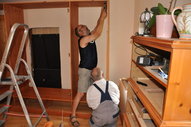 Eberhard and Manfred assembling the Schrank, renovating mom's bedroom 2009