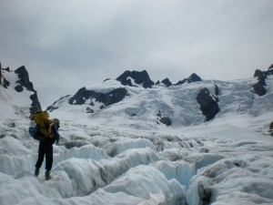 Bill crossing the Blue Glacier toward Mt Olympus