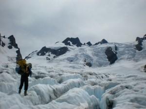 Bill crossing the Blue Glacier toward Mt Olympus