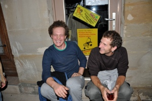 Christoph's son Benny and friend, Sasha who warned us about the neuwein