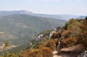 Ascending the narrow path to Peyrepertuse