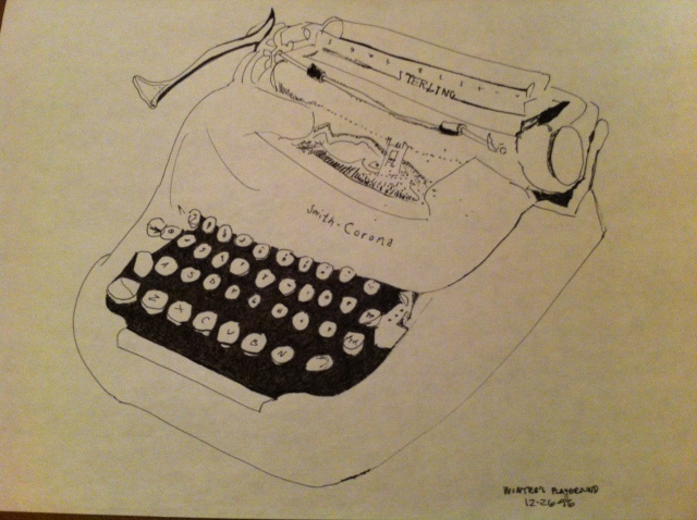 "Drawing of my first typewriter, caption ""Winter's Playground"""