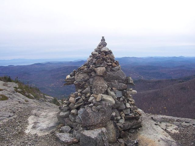 Cairn marking the peak of Bald Mountain, Adirondacks. Source: Wikipedia