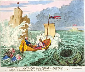 James Gillray, Britannia between Scylla and Charybdis (1793)