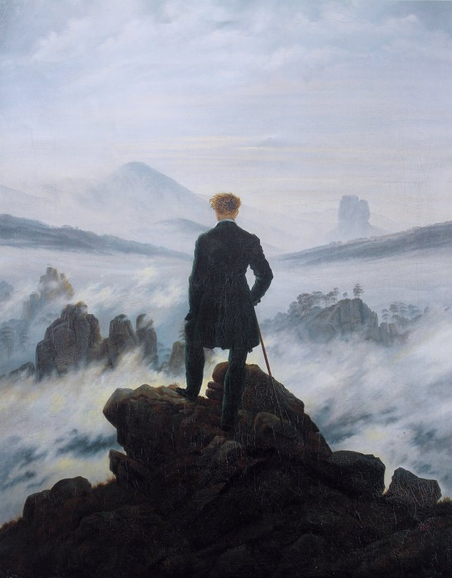 "Caspar David Friedrich - ""Wanderer above the sea of fog."" Licensed under Public domain via Wikimedia Commons."