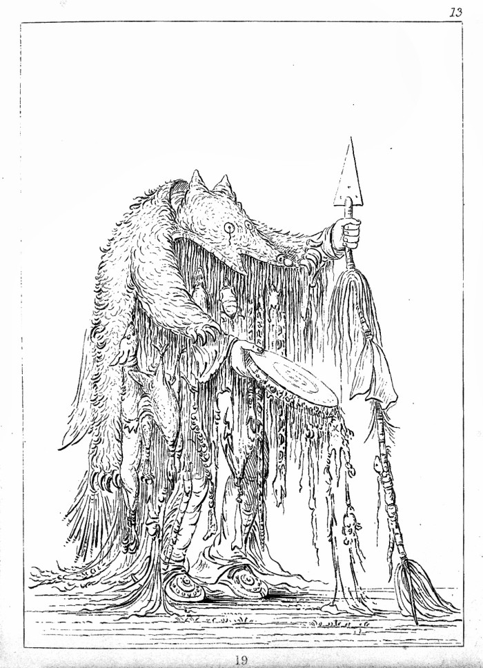 Illustration of the Blackfoot Indian medicine man. George Catlin, source Wikimedia Commons.