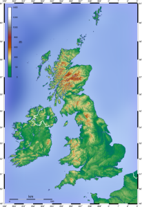 Topo of the UK, Wiki Commons