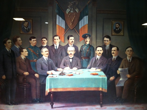 """""""Easter 1916,"""" painting (Patrick Pearse seated far left, William Pearse behind)"""