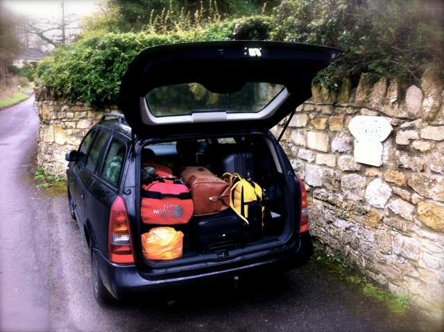 The Opel Astra kombi we bought for our 90 days in the UK in the lay-by, Combe Down.