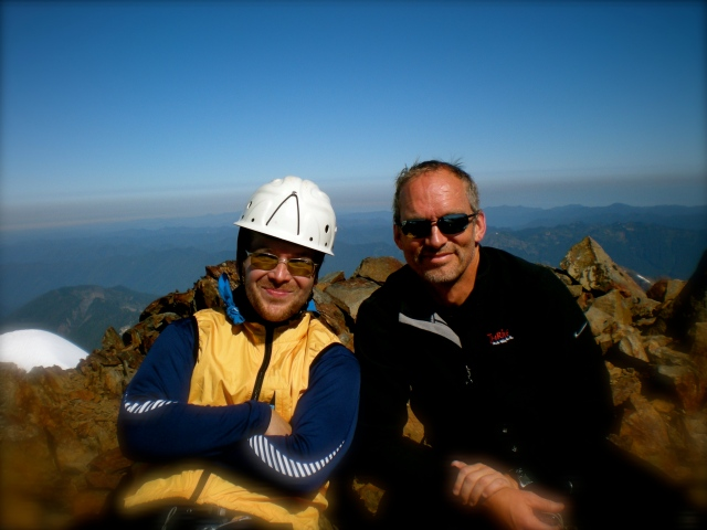 Brad and I on the summit of Mt. Olympus (Pacific Ocean background), July 2009