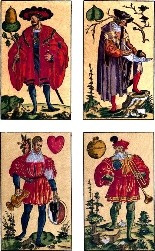 Jacks from a German deck of cards engraved in 1545 (Wiki commons)