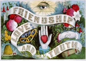 "Currier & Ives symbolic print ""Friendship, Love, and Truth"". Includes symbolic Eye of Providence, handshake, beehive of industriousness, sticks which can be easily broken individually but not when tied together in a bundle, etc."